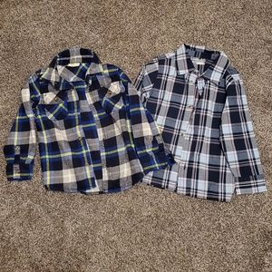 Lot of 2 plaid button up shirts. Size 3T